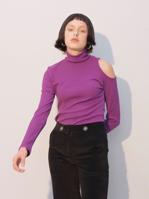 Shoulder Point High Neck T_Purple