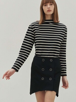 Audrey Stripe Boatneck Tee (Black & White)