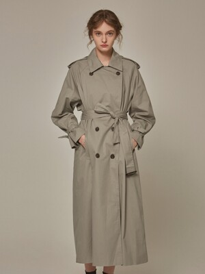 TRENDY OVER TRENCH COAT_GRAY