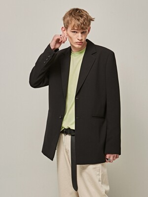TAILOR OVER SIZE SINGLE JACKET_BLACK