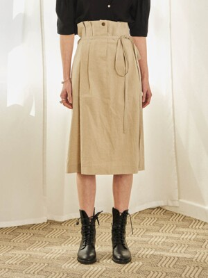 STRAP HIGH WAIST SKIRT (BEIGE)