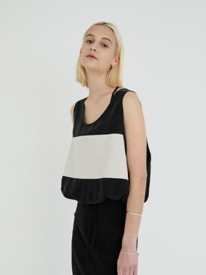 BLOCK SLEEVELESS TOP (BLACK)