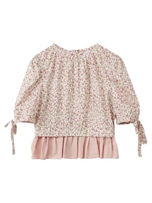 Flower back button blouse - Pink