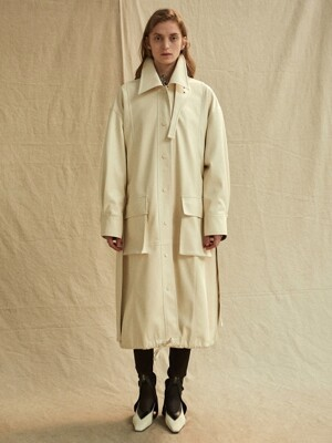 19FW LEATHER COAT - IVORY