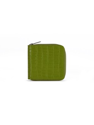 PATTERNED LEATHER ZIP WALLET (OLIVE)
