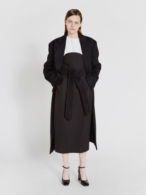 TIE-WAIST WOOL COAT (BLACK)