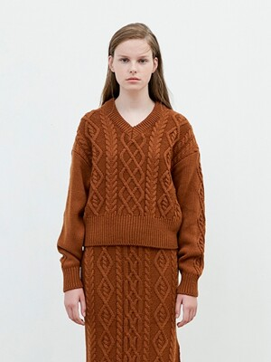 V Neck Twisted Knit [Brown]