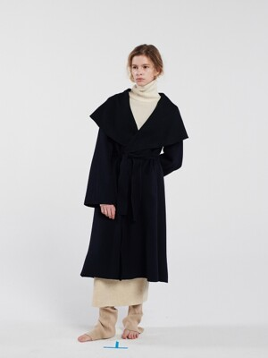 HOODED A-LINE COAT NAVY