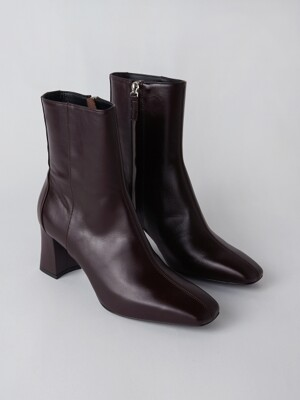 Square Ankle Boots [Wine]
