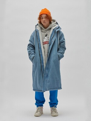 DENIM HOODED PARKA (DENIM)