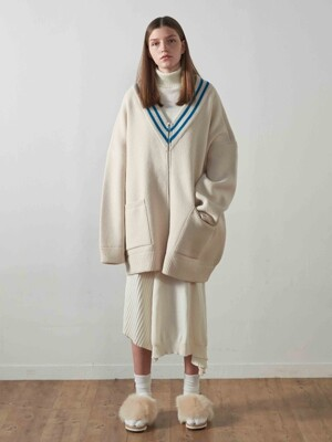 Classic Zip-Up Cardigan Jacket_IVORY