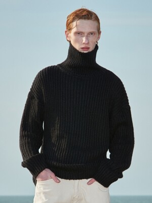 V573 HEAVY WOOL TURTLENECK KNITS_BLACK