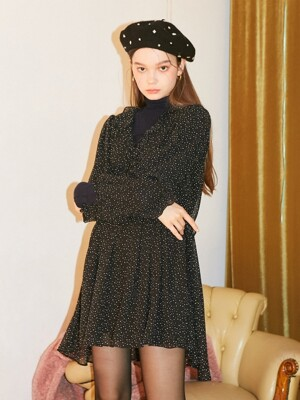 Dot Chiffon Shirring Dress