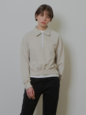 HALF ZIP-UP MTM_OATMEAL