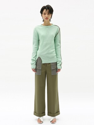 AMELIE COLOR BLOCKING PATCH POCKET PANTS apa322w(KHAKI)