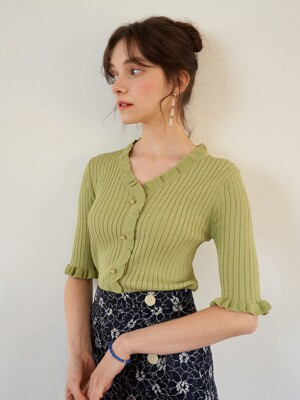 monts 1096 short-sleeve frill knit (yellow green)