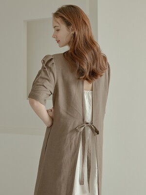 2-way linen long dress[Brown]
