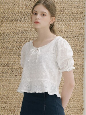 monts 1142 punching cropped blouse (white)
