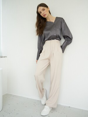 T03 HIGH TUCK PANTS BEIGE