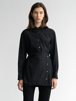 LAYERED COTTON SHIRT (BLACK)