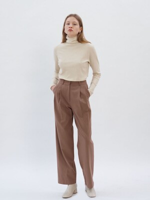 Wool Pin tuck Pants_Brown