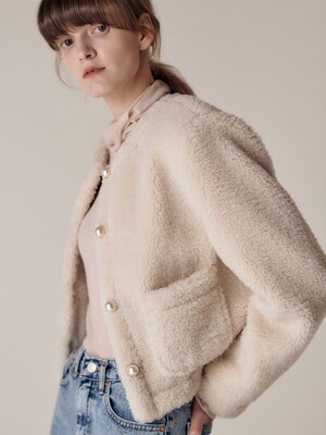 Bosco fur jacket_Ecru