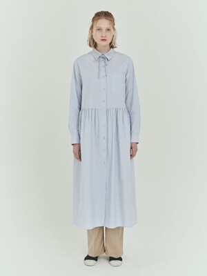 BENSIMON NECK COLLAR POINT LONG DRESS - SKY BLUE