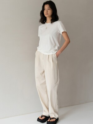 COTTON SLACKS - CREAM