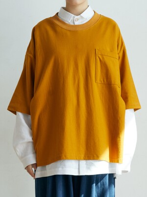 unisex embroidery t-shirts mustard