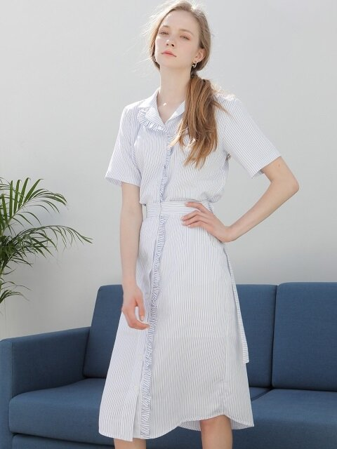 FRILL SHIRT SKIRT SKYBLUE