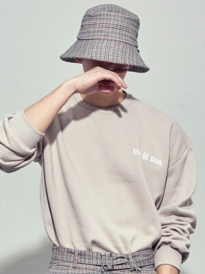 UNISEX SIMPLE BUCKET HAT (CHECK BEIGE)