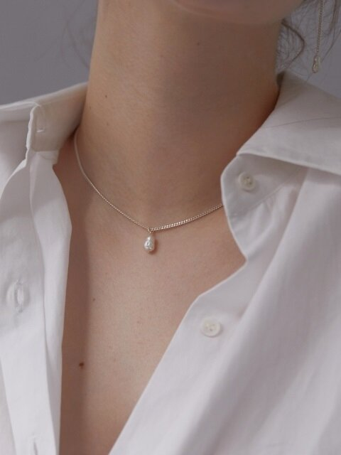 [Silver] One Natural Pearl Silver Necklace