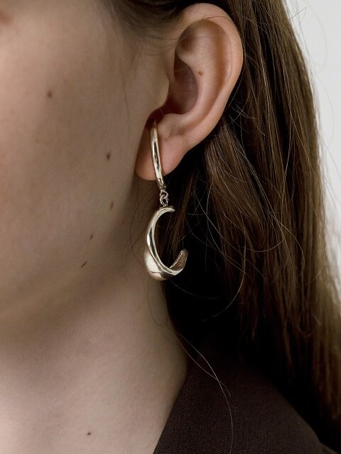 Wave ear-cuff drop earring