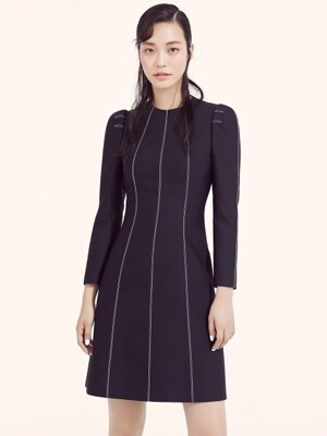 BLACK WOOL SILK STITCH MINI DRESS