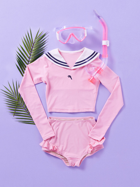 (SW-18383)SAILOR CROP RASHGUARD PINK