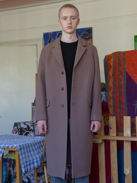 Single-Breasted Pure Wool Overcoat / Cocoa