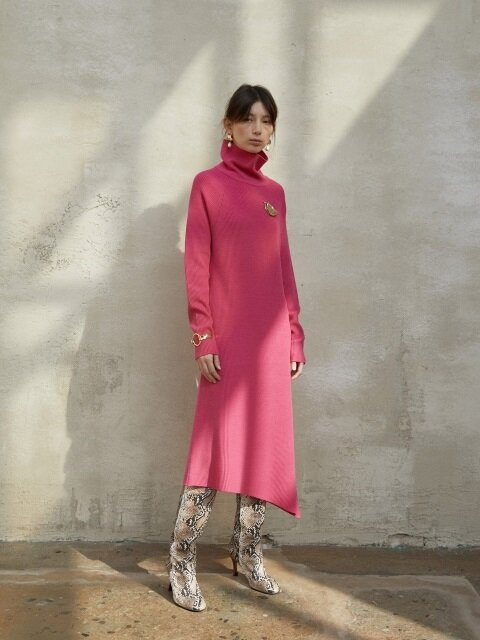 UNBALANCE KNIT DRESS [PINK]