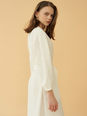 stitch linen dress (white)