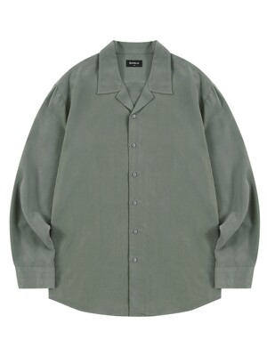 Loose-fit open collar tencel shirt - Khaki