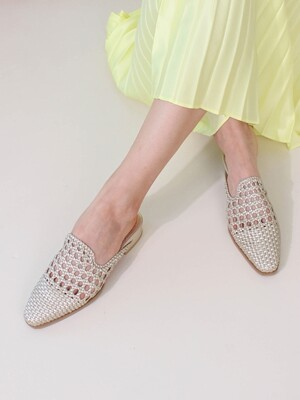Mesh Loafer Flat Mule(gold)