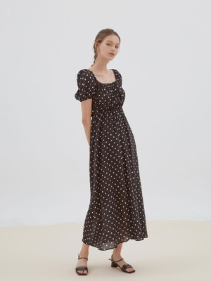 lovely dot shirring long dress[black]