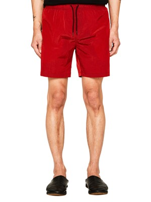 RED WRINKLE NYLON SHORTS