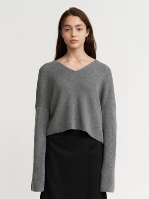 V-NECK KNIT CREWNECK WOMEN [GRAY]