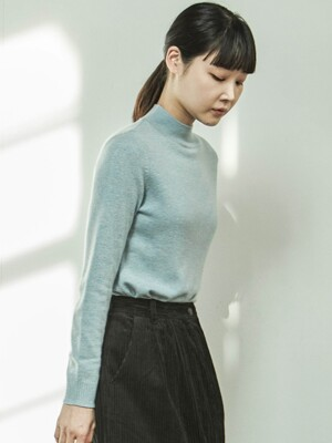 CASHMERE HALF TURTLENECK SKYBLUE KNIT