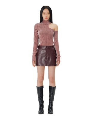 C MICRO MINI LEATHER SKIRT_BURGUNDY