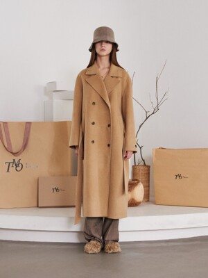 HANDMADE LONG WOOL COAT (CAMEL)