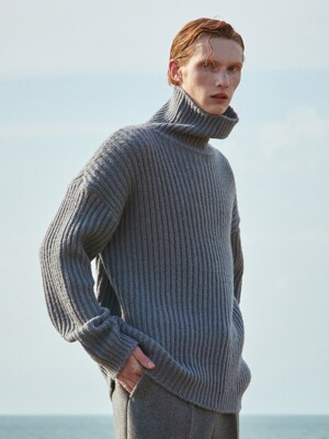 V573 HEAVY WOOL TURTLENECK KNITS_GRAY