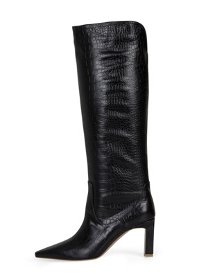 BRILLIANT LONG BOOTS-IDOS BLACK