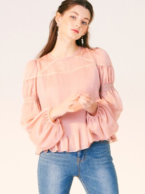 VOLUME SMOKE SLEEVE PLEATS BLOUSE_ROSE PINK