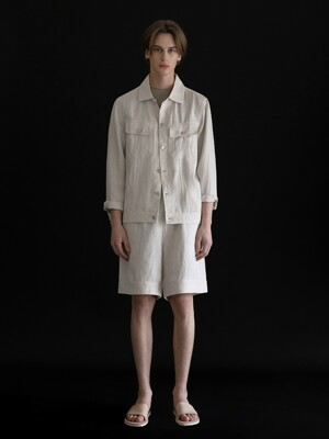 BLENDED LINEN TRUCKER JACKET_IVORY